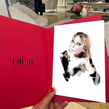Fashion live illustration à Monaco pour découvrir la collection Fall 2021 chez Dior.